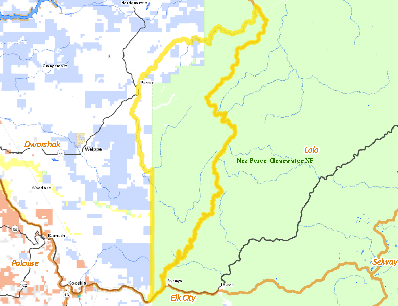 Hunt Area | Idaho Hunt Planner Clearwater River Map on
