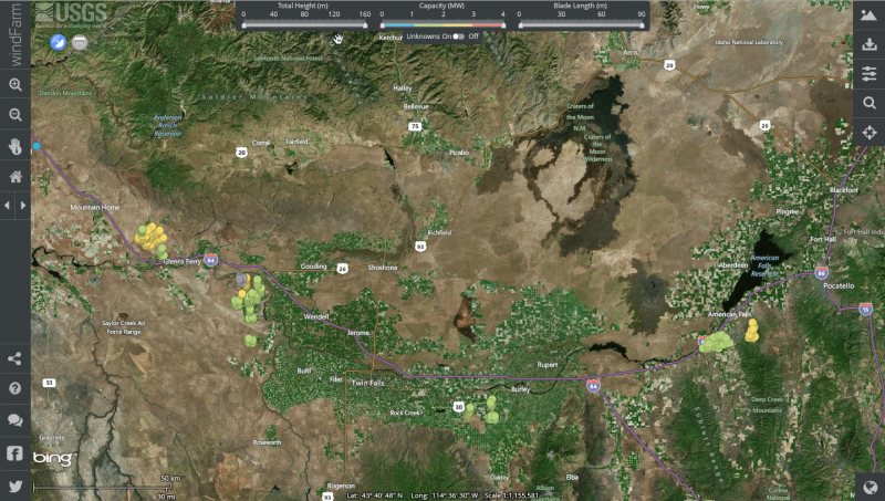 Windfarm usgs releases interactive map of u s wind for Idaho fish and game maps