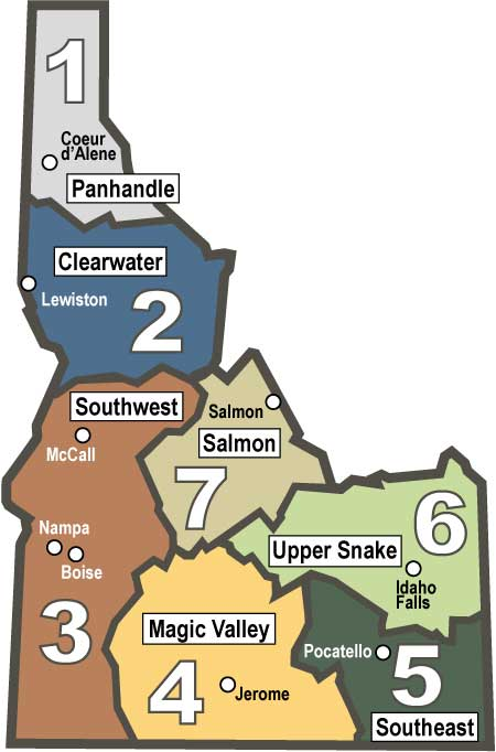 Regional fishing reports idaho fish and game for Idaho fish and game maps