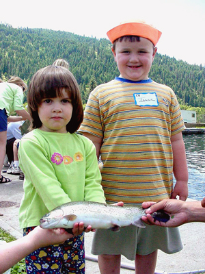 Girl and Boy with Fish