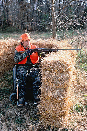 Disabled hunter in blind