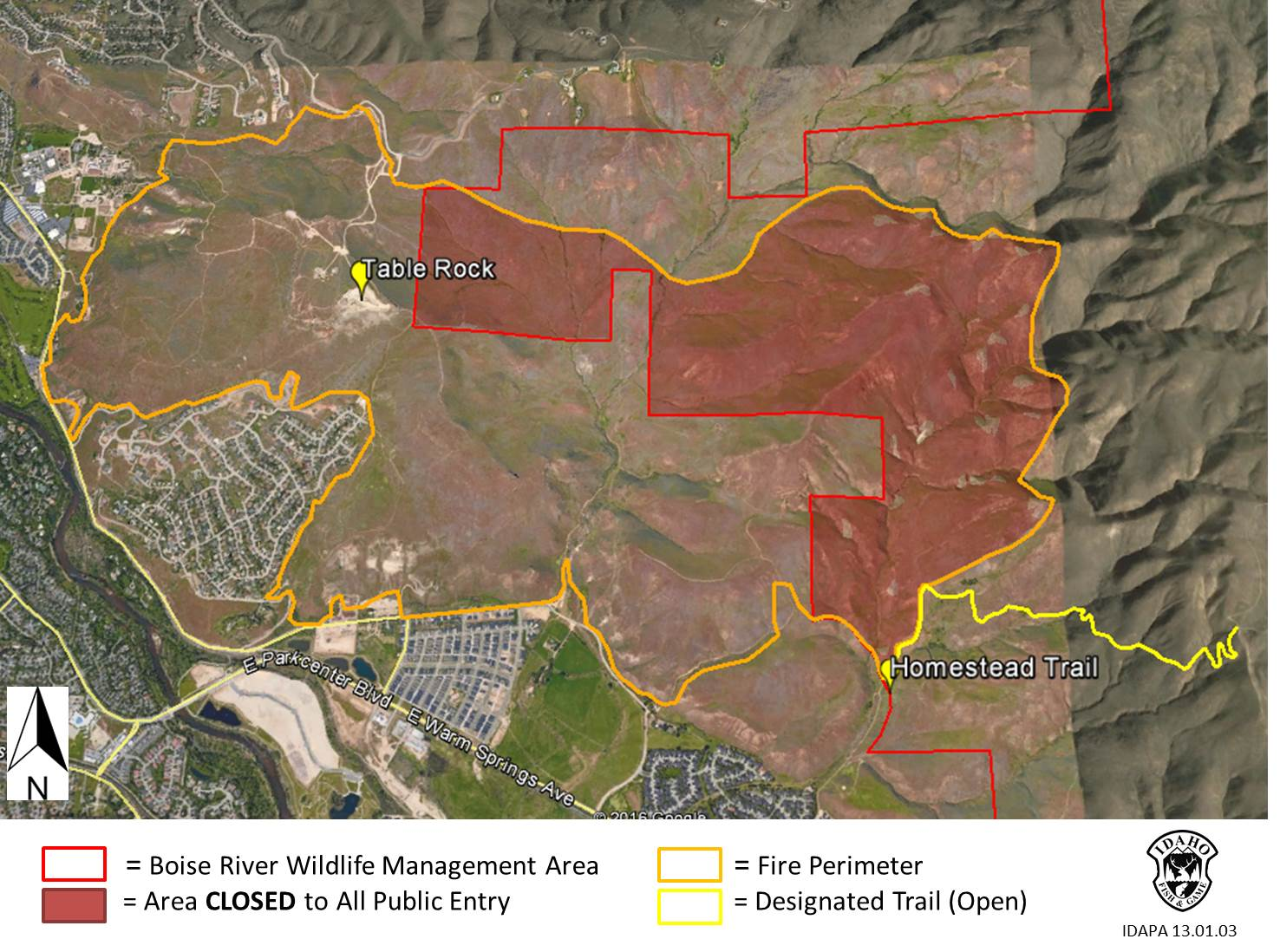 Wildfire closes portion of boise river wma idaho fish for Idaho fish and game maps