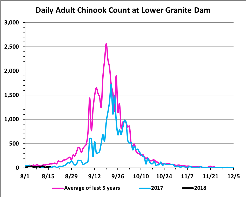 chinook counts bonneville lower granite dams idaho