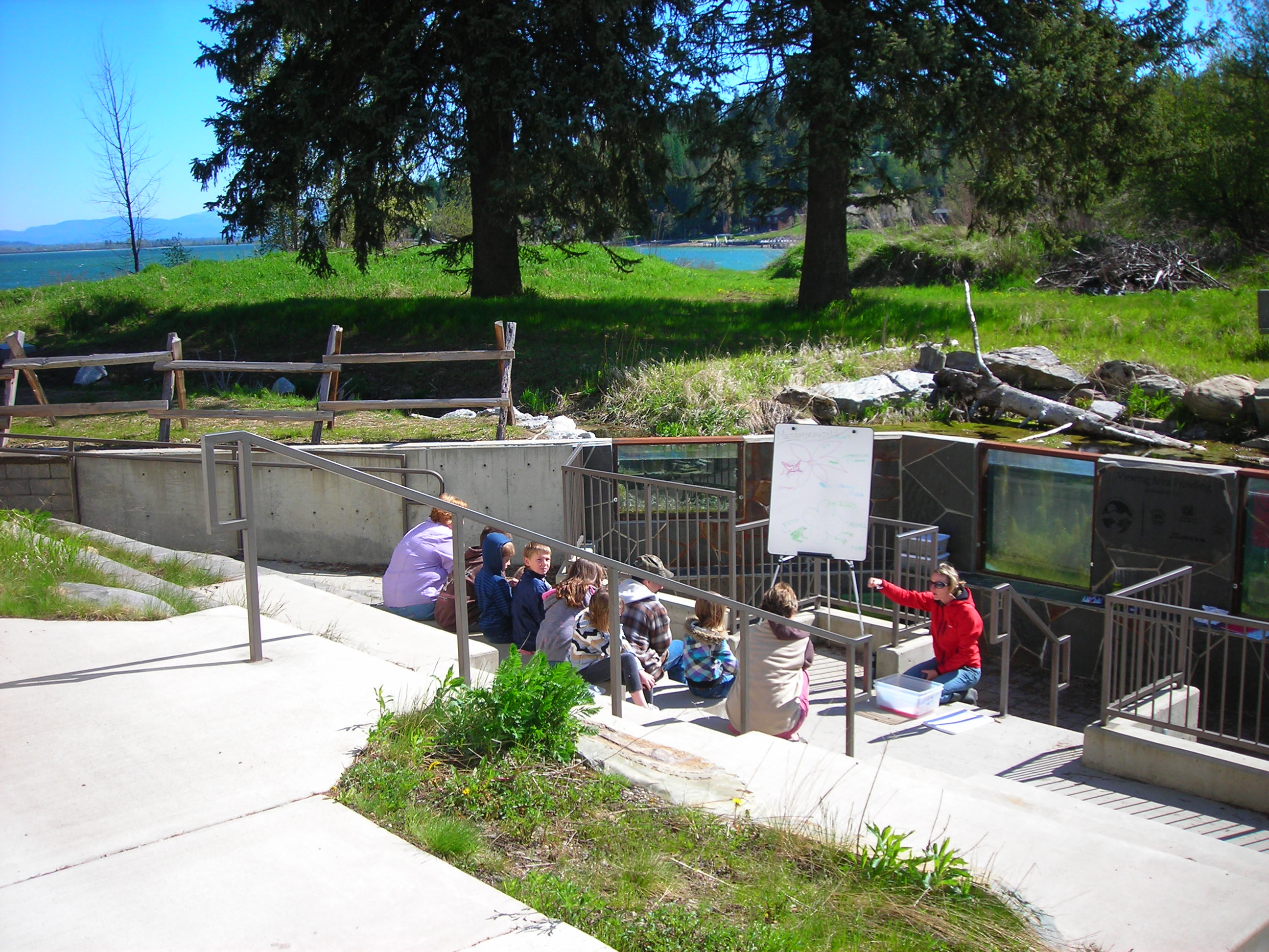 class at the amphitheater at the Waterlife Discovery Center with the fish viewing windows and Lake Pend Oreille in the background in Sandpoint wide shot May 2011