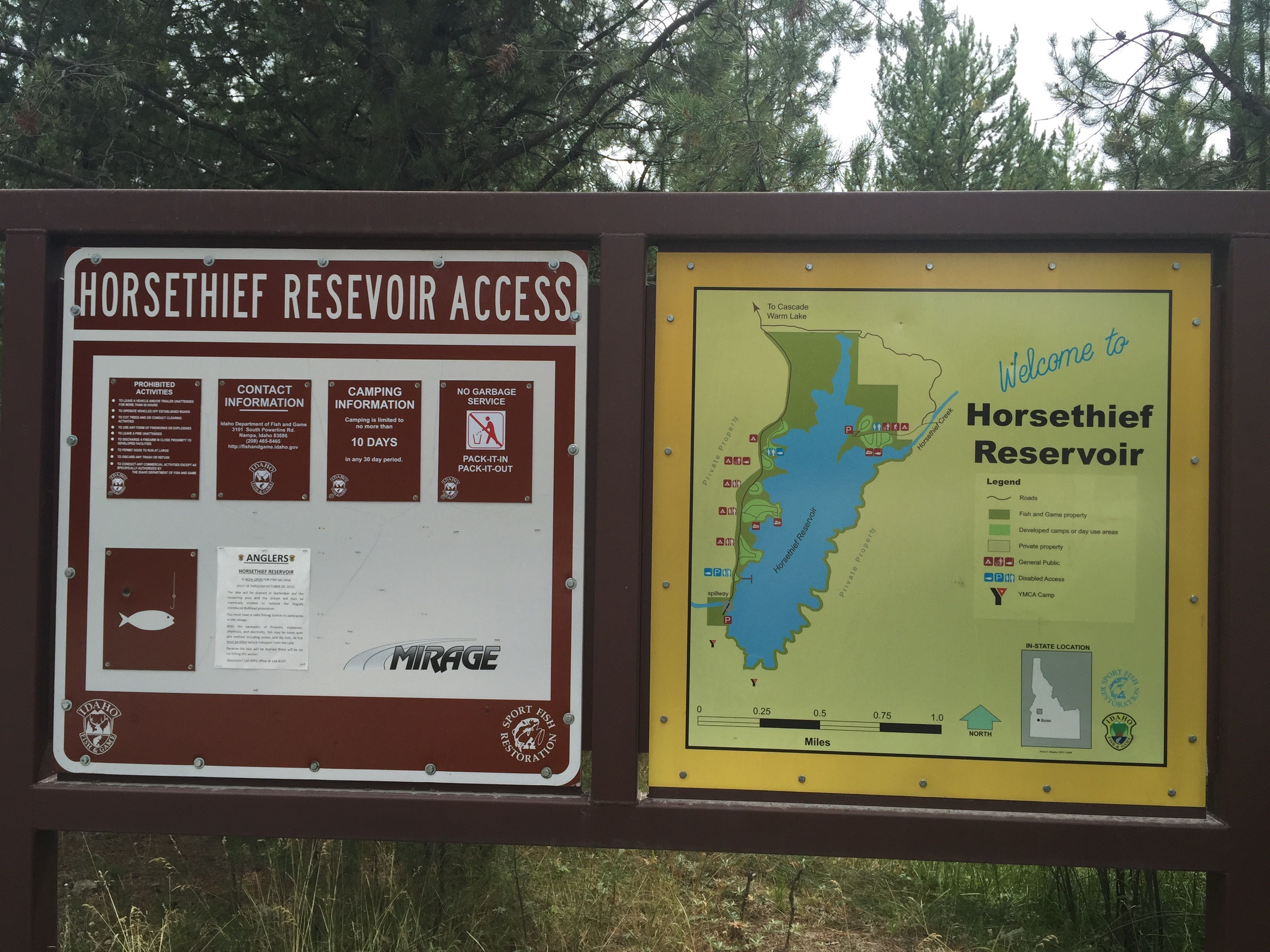 Horsethief  Reservoir Fishing Access informational signs August 2015