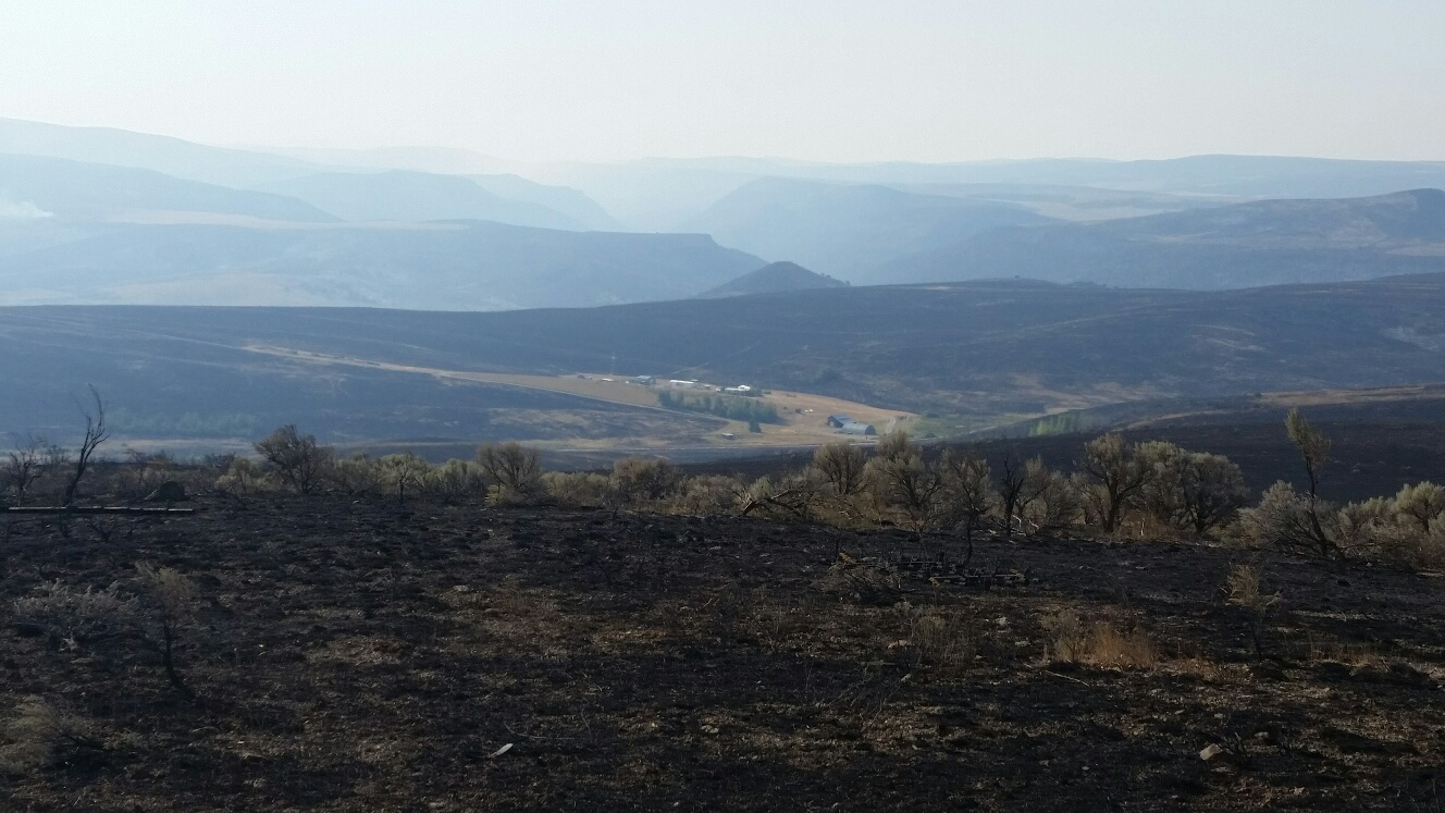 Tex Creek WMA, Henry's Creek Fire. WMA HQ protected with retardent
