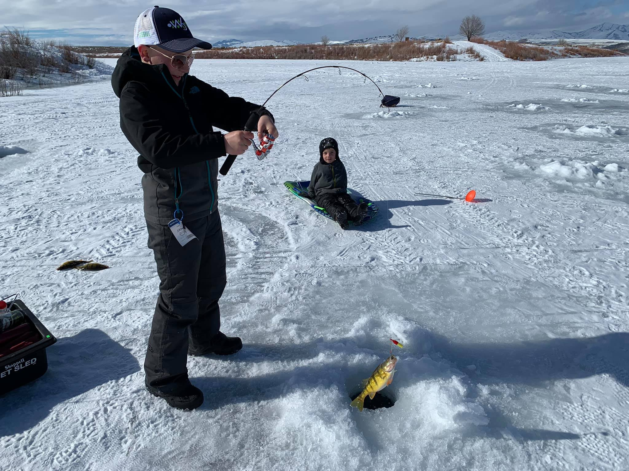 A boy holding a small fishing rod reels in a perch from an ice fishing hole.