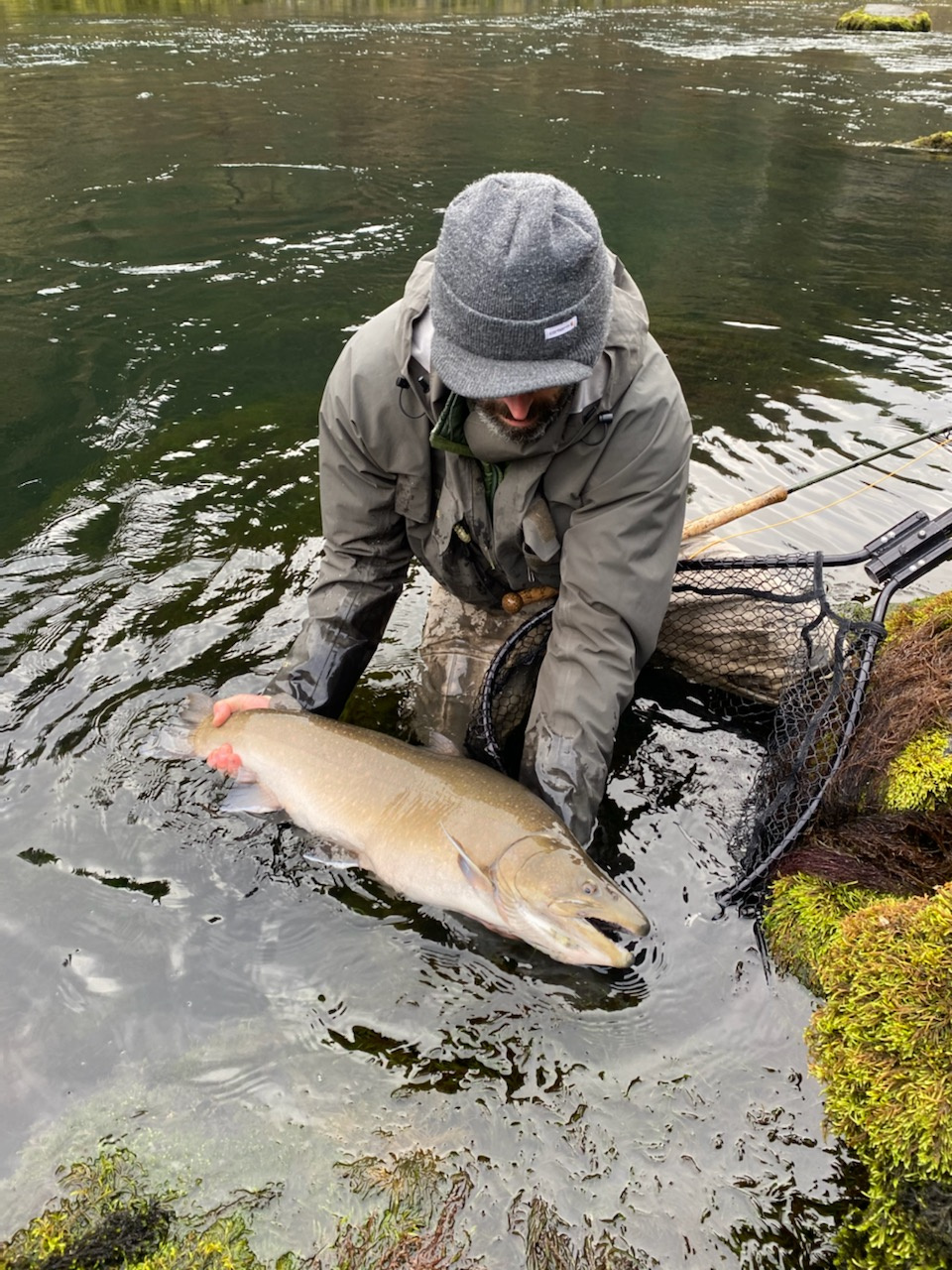 Angler with Fluvial Bull Trout