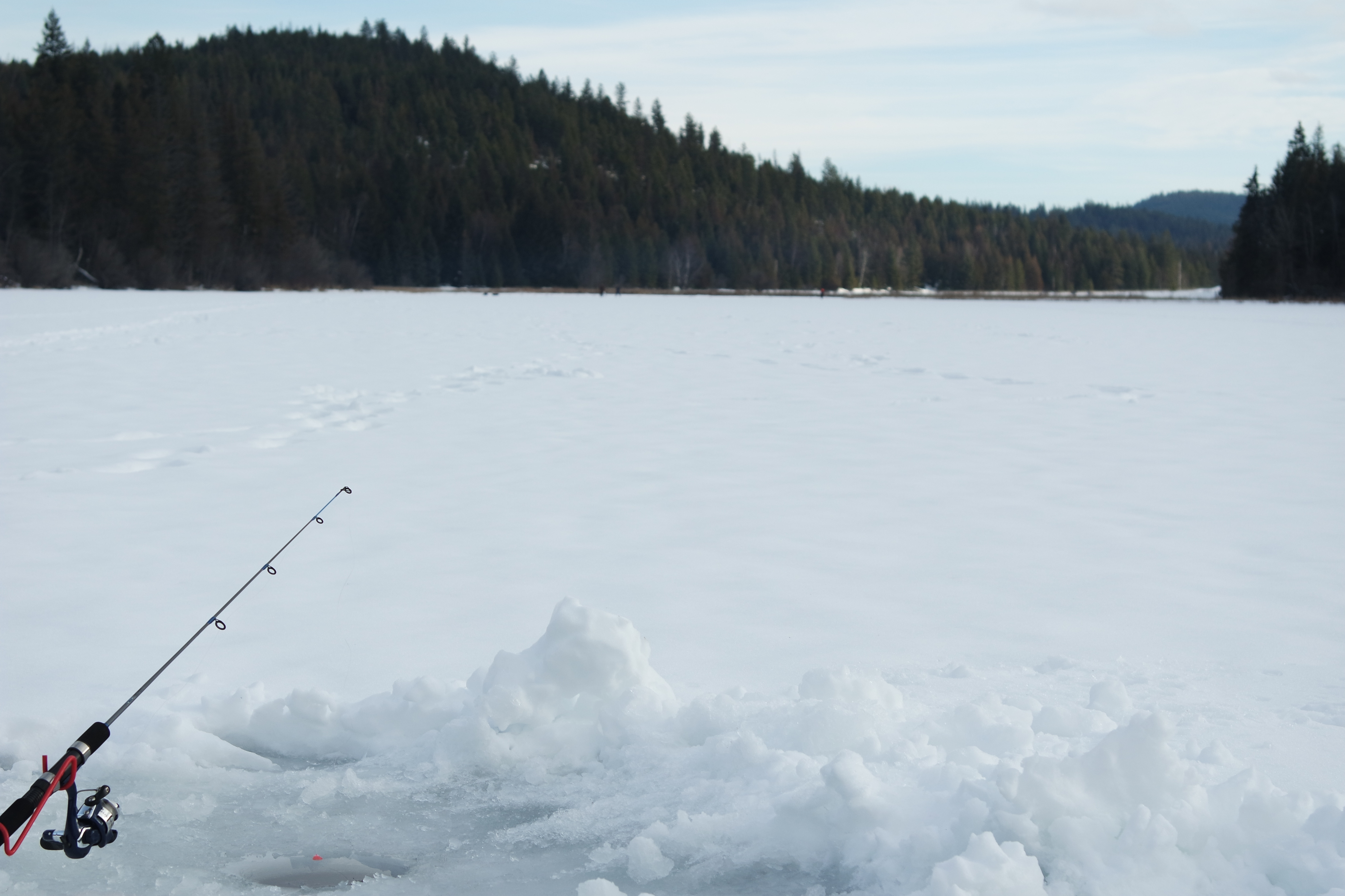 Ice fishing on Bonner Lake