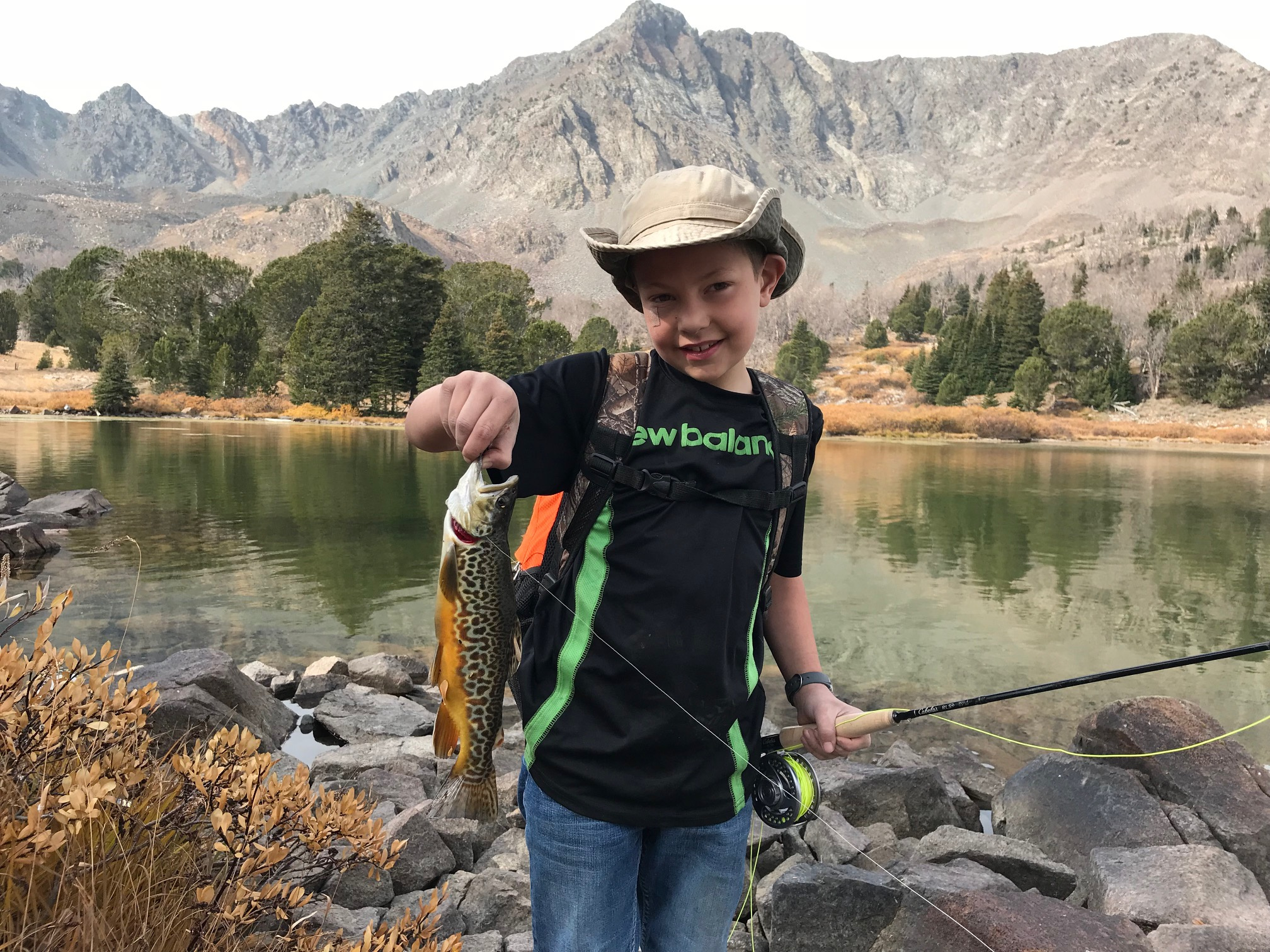 Young angler with Tiger Trout