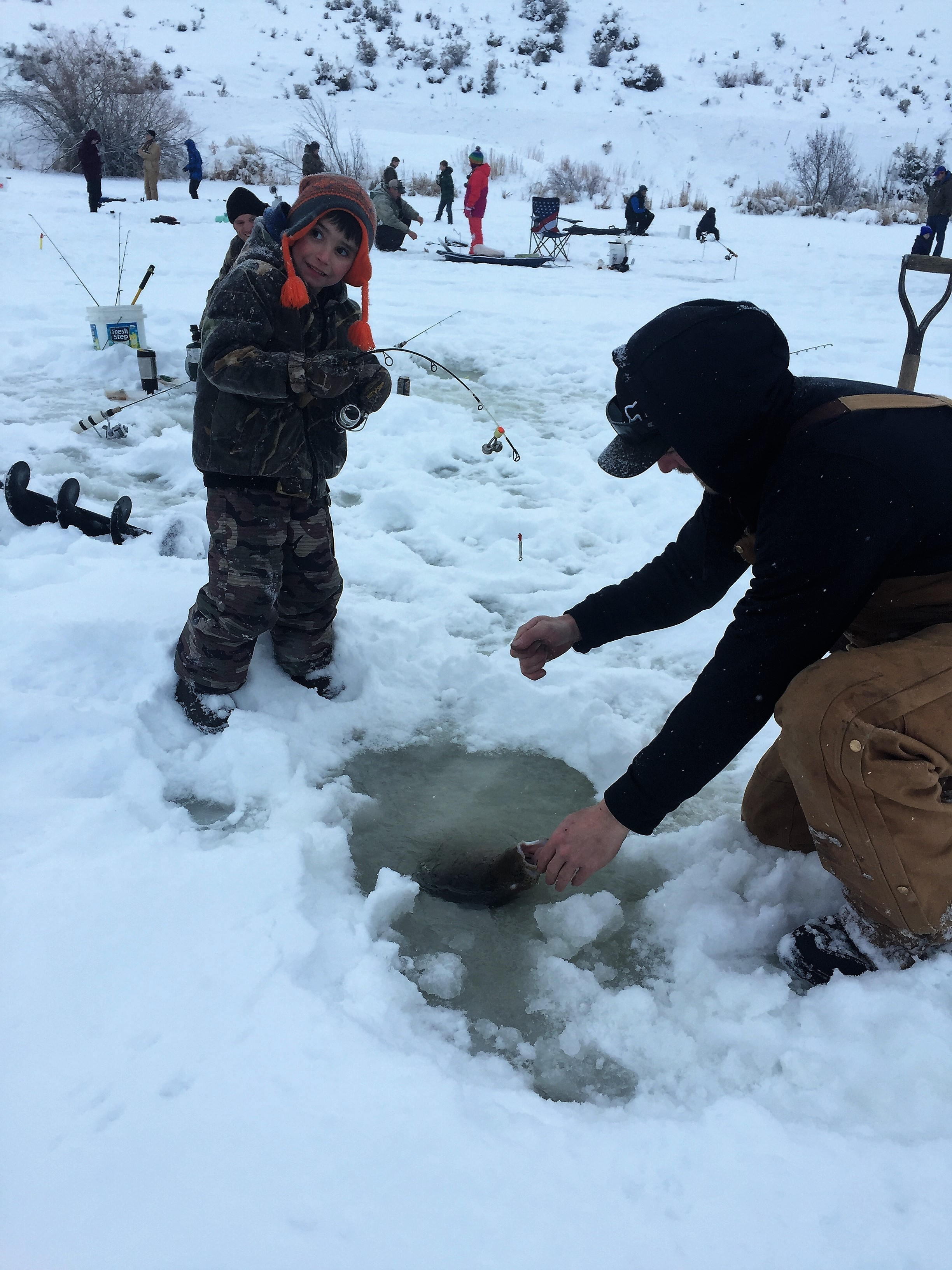Hyde creek pond ice fishing derby idaho fish and game for Ice fishing games free