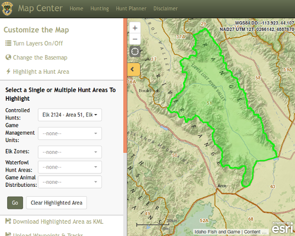 Idaho Hunt Planner Map Center Screenshot