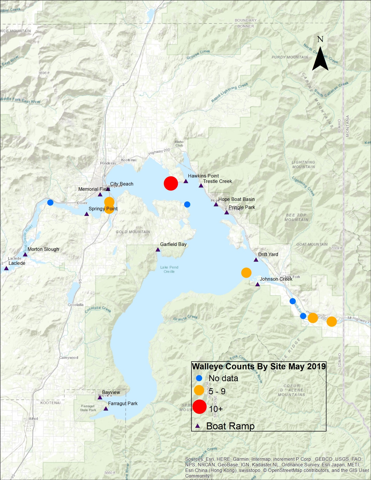 Lake Pend Oreille Walleye Tracking May 19