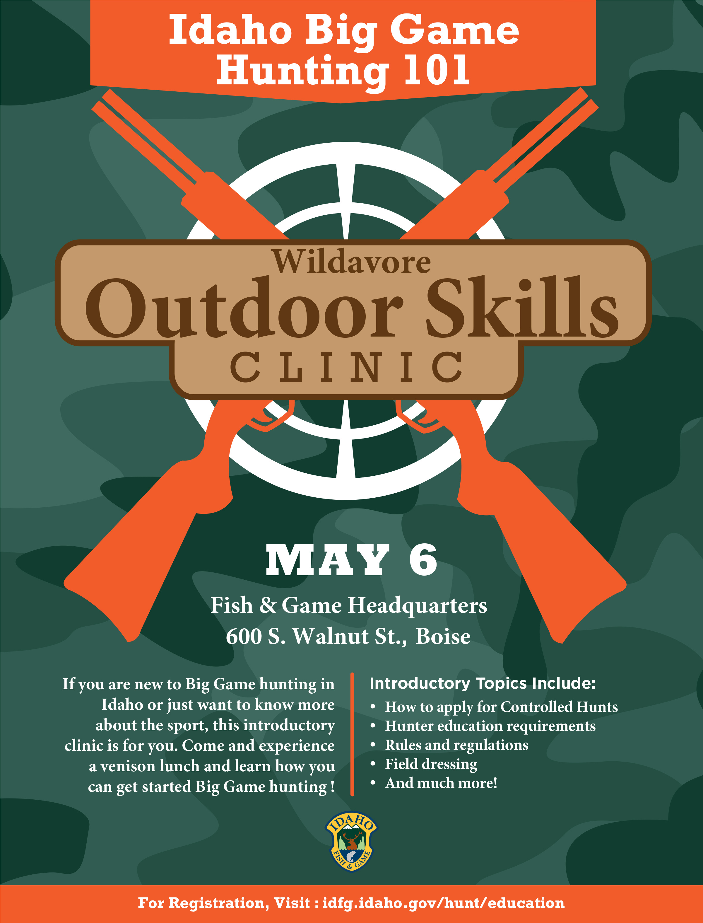 Outdoor skills workshop slated idaho fish and game for Idaho dept of fish and game