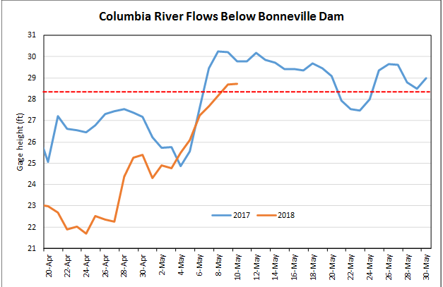 Columbia River flows below Bonneville Dam
