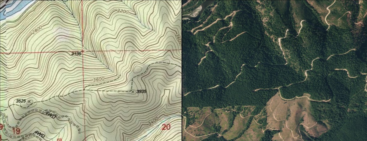 Topo and aerial image of a Large Tracts parcel