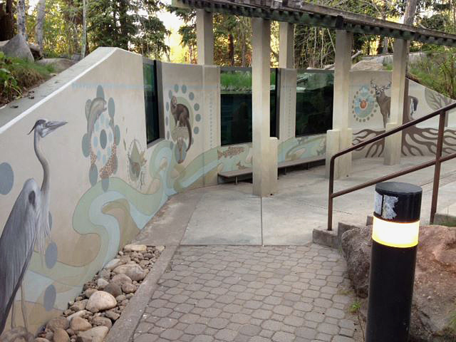 alpine mural at fish viewing windows at the MK Nature Center February 2016