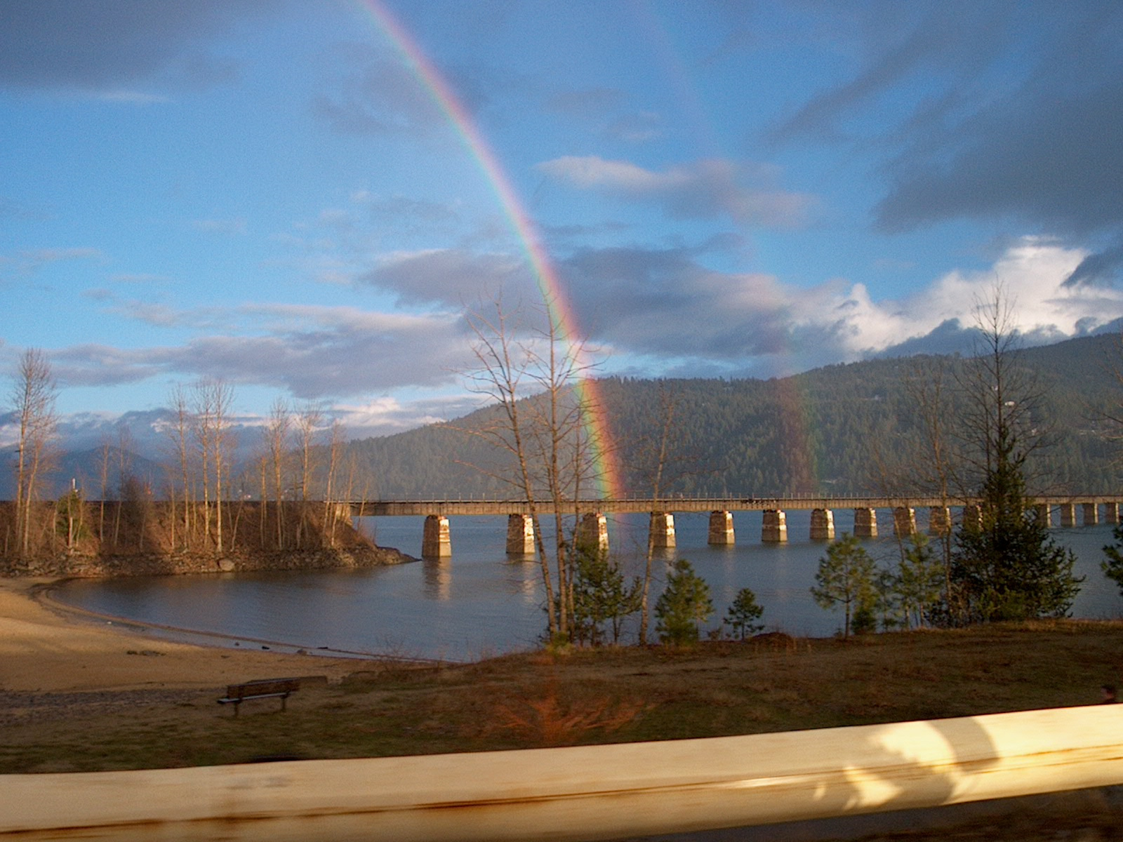 double rainbow and railroad bridge at Lake Pend Oreille July 2010