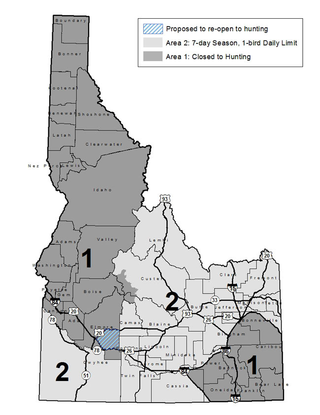 2016 sage grouse season proposals idaho fish and game for Idaho fish and game maps