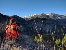 big game hunter dressed in hunter orange looking through binoculars on a mountain ridge Ben Studer medium shot, November 2016