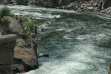 wide shot of anglers fishing for chinook near the old Sunbeam Dam on the Yankee Fork of the Salmon River July 18, 2008