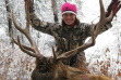 woman with her bull elk