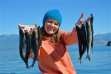 girl with her kokanee from Lake Pend Oreille fish on September 2015