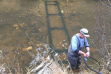 Testing of PIT Tag antenna in the East Fork Potlatch River/ Photo by Brian Knoth