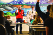 hunter education instructor talks to kids in a class January 2014
