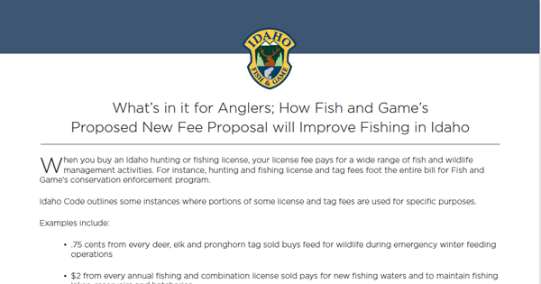 handout for idfg anglers and new fee proposal