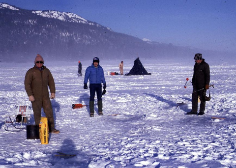 Anglers fishing through the ice at Lake Cascade