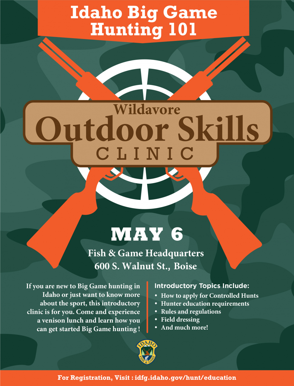 Outdoor skills workshop slated idaho fish and game for Idaho fish and game regulations