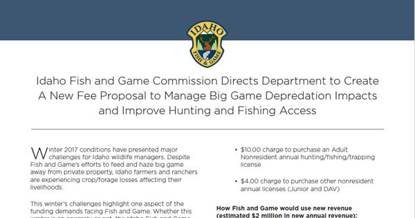 A New Fee Proposal Idaho Fish And Game