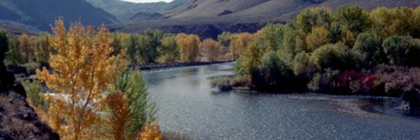 scenic Salmon River Fall colors wide shot small photo
