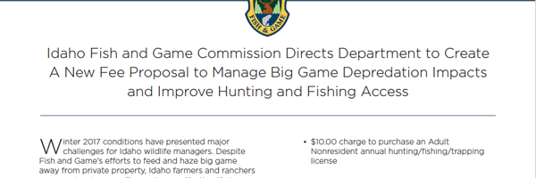 New Fee Proposal - Depredation Benefits