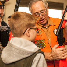 boys learn how to use a rifle during hunter education January 2014