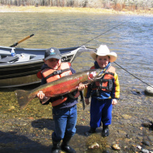 two kids one cowboy with their steelhead April 2008