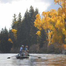 anglers fishing from a boat on a Fall day scenic wide shot October 2008