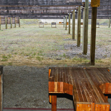 Farragut Shooting Range - downrange view with shooting benches
