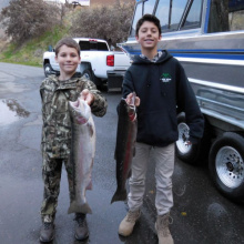 Two young anglers defied the odds and caught two nice steelhead in December 2016