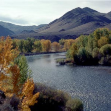 scenic Salmon River Fall colors wide shot small photo