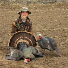 boy with his turkey and decoy vertical shot April 2015