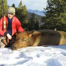 Sarah Curet with her elk November 2004