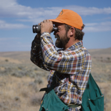 researcher looking for sage grouse June 2007